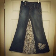"Custom Order Beautiful ""Fun with Lace"" long Modest jean skirt any size - Love My Jean Skirt - Modest Denim Skirts"