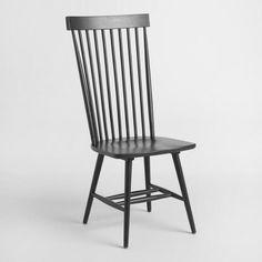 Black Wood Kamron High Back Windsor Chairs Set of 2 - v1