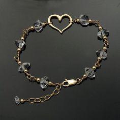 Herkimer Diamond bracelet / Quartz Crystal bracelet / Herkimer bracelet / Herkim… Herkimer Diamond bracelet / Quartz Crystal bracelet / Herkimer bracelet / Herkimer Gold / April Birthstone / to MANIFEST LOVE Bracelet Cartier, Diamond Bracelets, Love Bracelets, Crystal Bracelets, Sterling Silver Bracelets, Jewelry Bracelets, Ankle Bracelets, Couple Bracelets, Pearl Necklaces