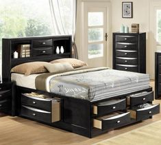 Linda Black Bedroom Set by Global Furniture Wooden Platform Bed, Platform Bed With Storage, Platform Beds, Black Platform, King Size Storage Bed, Bed Storage, Storage Drawers, Cheap Bedroom Furniture, Furniture Layout
