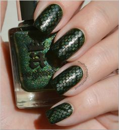 Dragon Scale nails: BM plate 215, Green Hills polish by ANNY and England's Dragon (glitter) polish