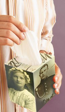 Your Favorite Photo Tissue Box — Perk up your bathroom or bedside table or create a heartwarming homemade gift with stylish tissue box that makes great use of your family photos. #mothersday #decorating #diy #craft