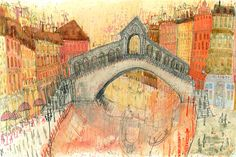 RIALTO BRIDGE VENICE, Grand Canal Painting, Signed Limited Edition, Venetian Art Print, Watercolor Painting, Italy Wall Art, Clare Caulfield