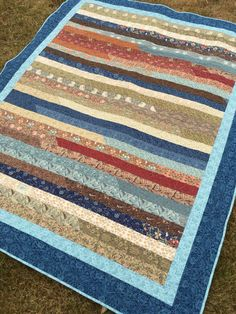 Patchwork lap or twin size quilt, jelly roll race, Quiltsy handmade, blue…