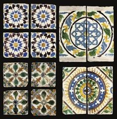A LARGE QUR'AN FOLIO AND A MAMLUK BIFOLIUM, PR. £875($1,537) // A GROUP OF SPANISH CUERDA SECA TILES, SEVILLE, SPAIN, 16TH CENTURY  Of rectangular and square form, comprising a group of four decorated in blue, black and brown radiating star design, another group of four decorated in green and brown with cross formed of green bulbs, brown trefoil designs in the interstices, a pair forming a interlacing geometric star with surrounding circular band of yellow and blue leaves and a further pair