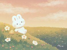 Rabbit Wallpaper, Cute Desktop Wallpaper, Cute Pastel Wallpaper, Kawaii Wallpaper, Cute Animal Drawings Kawaii, Kawaii Art, Cute Drawings, Pretty Art, Cute Art