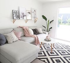Use these gorgeous modern living room ideas, even if you have a small living room or lounge, as a starting point for your living room design decorating project. Small Living Rooms, Living Room Modern, Home Living Room, Blush And Grey Living Room, Small Apartment Living, Gray Couch Living Room, Apartment Couch, Living Area, Apartment Space Saving