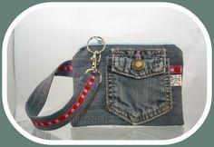 Handgelenkstäschchen Karo aus Jeansrest