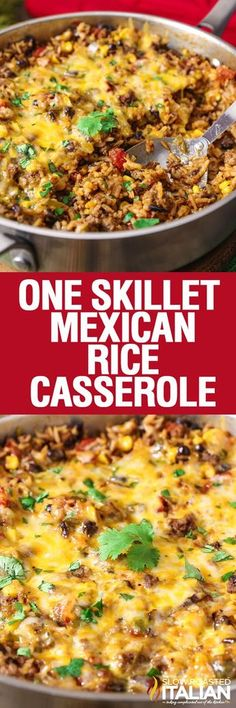One Skillet Mexican Rice Casserole is a simple recipe that comes together in just 30 minutes. A one pot meal featuring your favorite Mexican flavors that cooks all in one pan. You can't beat that! It is a quick and easy weeknight dinner option with little clean up!