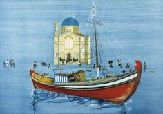 Βασιλείου Σπύρος – Spyros Vassiliou [1903-1985]   paletaart - Χρώμα & Φώς Greek Art, Gustav Klimt, Conceptual Art, Crochet Flowers, Sailing Ships, Printmaking, Taj Mahal, Boat, Fine Art