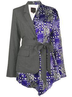 Snow Xue Gao hybrid kimono blazer - Blue Source by Dress Kpop Fashion Outfits, Fashion Dresses, Look Fashion, Womens Fashion, Fashion Design, Rajputi Dress, Fashion Illustration Dresses, Blazer Dress, Looks Style