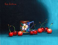 https://flic.kr/p/BqVguF | Teacup with Cherries by Vicki Sullivan | Cherrieswithteacup#Cherry#tea#cupoftea#Summerfruit#Australianartist#Portraitartist#stilllife#Oilpainting#Food#Foodie#slowfood#organicgarden