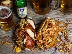 Loaded Oktoberfest Brats #bratwurst #oktoberfest #onionstraws #cheesesauce #pretzel