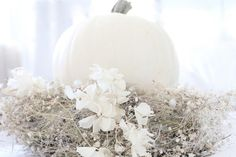 White and Shabby: September 2012 White Pumpkin Decor, White Pumpkins, Fall Pumpkins, Autumn Nature, Soft Autumn, Shabby Chic Halloween, Jade And Beck, Cottage Furniture, Painted Cottage