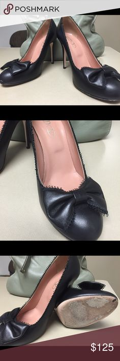 Red Valentino Black Bow Stilleto Great condition. Only worn four times. Run a bit small. Size 38.5. No scuffs on leather. Only wear is to bottom of shoe as visible. Originally paid $395 from Red Valentino store at South Coast Plaza. Asking $125 RED Valentino Shoes Heels