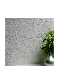 Brewster Paintable Large Traditional Acanthus Damask Peelable Wallpaper, White at MYHABIT