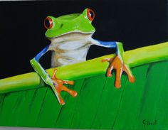 Acrylic/Frog on leaf