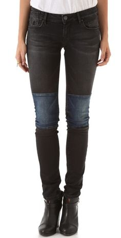 skinny jeans, contrast patches - maison scotch