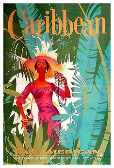 Vintage Travel Original Pan Am Poster 1960 CARIBBEAN Vintage Airline Travel Jamaica West Indies by jamaicanlips Party Vintage, Vintage Ads, Vintage Airline, Logo Vintage, Retro Poster, Poster S, Art Illustration Vintage, Travel Illustration, Vintage Travel Wedding