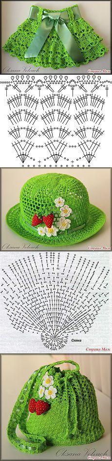 "Летний комплект для девочки [   ""Hat and skirt crochet"",   ""Crochet patterns - Haak patronen Haven"