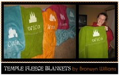 Fleece blanket with glow in the dark temple and name painted on.