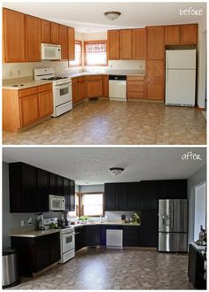 DIY cabinet makeover - with link to DIY {From Renting to Remodeling} OMG I soooooo miss MY kitchen from my first marriage!! I designed it myself!! :(