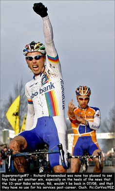 Sven Nys (BEL) and in the back Richard Groenendaal (NED), a sore loser...