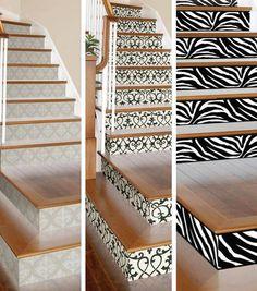 Estupendas Ideas para darle a tu escalera un poco de estilo ya sea con papel tapiz o viniles.