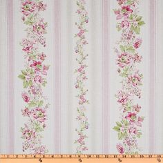 Treasures by Shabby Chic Wildflowers Floral Stripes Pink - Discount Designer Fabric - Fabric.com