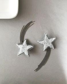 great choice for celebration Long dangle star earrings in shimmering green Beaded star earrings for woman or girl.