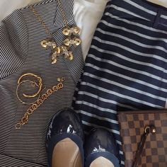 In navy and white stripes. #ootd // #gap blazer and pants / #oldnavy t-shirt / #bananarepublic flats / #louisvuitton handbag / #jcrew necklace and bracelet / #jcrewfactory bracelet / #hm bracelet // #currentlywearing #whatimwearing #wiw #outfitinspiration #stylemejuly #Padgram