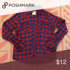 Hollister Plaid Top Hollister plaid top blue and red checkers size medium Hollister Tops