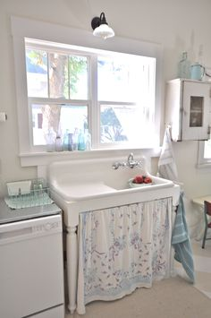 vintagewhitesblog.com Vintage kitchen, farmhouse sink, kitchen remodel
