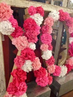 Valentine Tissue Flower Letter Tutorial Could adapt for monogram for party or showe