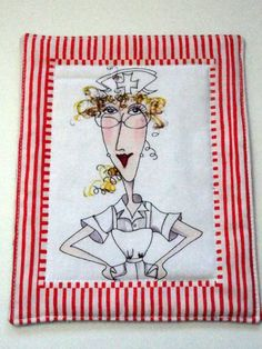 Mug Rug  Mini Mat  Snack Mat  Nurse Print Coaster by SewProDesigns