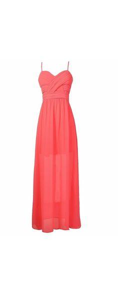 Rosemary Pleated Chiffon Maxi Dress in Pink