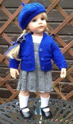 Ravelry: 11 Back to Basics School Set pattern by Jacqueline Gibb Knitted Doll Patterns, Doll Dress Patterns, Knitted Dolls, Clothing Patterns, Knitting Patterns, American Doll Clothes, Girl Doll Clothes, American Dolls, Girl Dolls