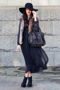 fur vest and sheer dress