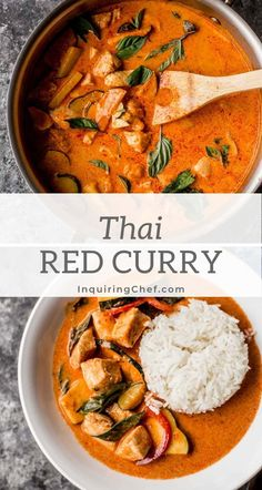 Thai Red Curry is a spicy, savory, coconut-based curry made with lemongrass, galangal, and dried red chili peppers for an easy weeknight meal. Thai Curry Recipes, Asian Recipes, Healthy Recipes, Ethnic Recipes, Red Curry Chicken, Thai Red Curry, Easy Weeknight Meals, Easy Meals, Red Curry Recipe