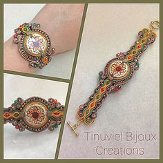 Soutache bracelet with sicilian ceramic