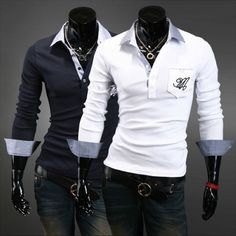 3e5010233e1aa Men s Slim Fit New Fashion Casual Polo Shirt T-Shirt Long Sleeve Tops XS
