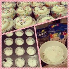 Weight watchers recipe for skinny funfetti cupcakes! 2 points plus per cupcake! This looks do-able! Sprite-Zero to replace oil and eggs. Weight Watcher Desserts, Plats Weight Watchers, Weight Watchers Meals, Weight Watchers Cupcakes, Low Calorie Desserts, Köstliche Desserts, No Calorie Foods, Low Calorie Recipes, Dessert Recipes