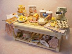 12th Scale Doll House Busy Bake Day Table by Cherryberryminis, $175.00