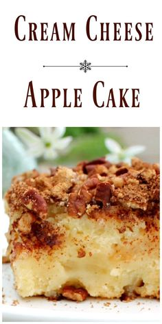 Cream Cheese Apple Cake The cake is brimming with chopped apples that sit in a cake batter made with butter and cream cheese. It's tender, moist and delicious! Apple Cake Recipes, Apple Desserts, Just Desserts, Baking Recipes, Delicious Desserts, Dessert Recipes, Yummy Food, Chocolate Apple Cake Recipe, Cookie Recipes
