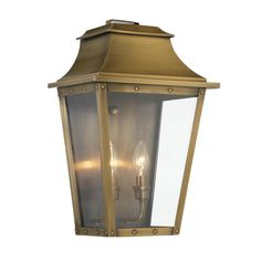 Traditional Studded Tapered Outdoor Wall Lantern - Large aged_brass