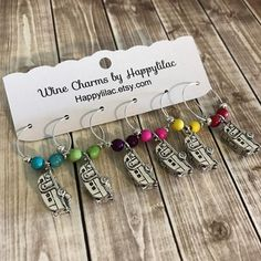 Airstream Wine Charms, Trailer Wine Charms, Camping Gift, Wine Charms, Wine Glass Charm, RV, Camper, Trailer, Camping, Camper, Camp, RV Owner, Airstream, Glamping, Wine Charms by Happylilac