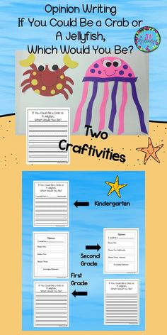 Ocean Animal Craft - Integrate opinion writing with an ocean animal craftivity! Have fun with your children making two ocean animal craftivities! Let them choose...If you could be an ocean animal, would you rather be a crab or a jellyfish? This covers the common core opinion writing standards. Integrates art with writing! Take a Preview Peek!! Included are three different opinion writing forms: Kindergarten First Grade Second Grade Pin to your educational inspirational board…