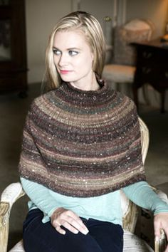 """Mushishi Poncho Free Knitting Pattern Knit a pretty capelet/poncho to layer over tees, tanks, and blouses. The poncho is knitted in the round and uses stockinette and two types of ribbing. To Fit Women's Size: S, (M, L, XL, XXL) Bottom Circumference: 41¾ (45¾, 49¾, 53¾, 57¾)"""" Approximate Length: 18 (19, 20, 21, 22)"""" You will need: * 1* (2, 2, 2, 2) hanks Plymouth Mushishi Yarn, shown in color 27 Mojave * Size US 7 circular 24"""" and 32"""" needles * 1 stitch marker *..."""