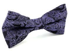 Mens Purple and Black Paisley Bow Tie. Purple Bow by AristoTIES