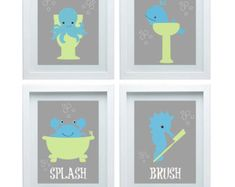 Kids Bathroom Wall Decor Bathroom Art Print Set X Kids Wall By Sednaprints On Bathrooms Design Art Suitable For Bathroom Kids Bathr